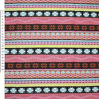 Мебельная, тентовая ткань, холст, деко коттон, хлопковая ткань, хлопок коричневая оранжевая розово черные полоски с орнамент.ш.150