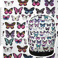 Мебельная, тентовая ткань, холст, деко коттон, хлопковая ткань, хлопок белый с разноцветными бабочками ш.150