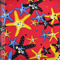 Мебельная, тентовая ткань, холст, деко коттон, хлопковая ткань, хлопок красный с морскими звездами ш.150