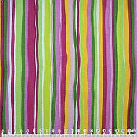 Мебельная, тентовая ткань, холст, деко коттон, хлопковая ткань, хлопок малин. розов. зеленые полоски ш.150