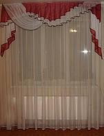 Ламбрекен прибой 2,5м_бордовый, фото 1