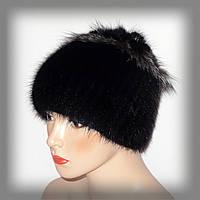 Зимняя меховая шапка из ондатры (чёрная с серой отделкой)