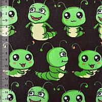 Мебельная, тентовая ткань, холст, деко коттон, хлопковая ткань, хлопок черный с зелеными гусеницами ш.150