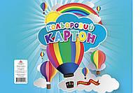 Картон кольоровий Аркуш А4, 7арк / 7кол, 200г / м2 макулатурний, паперова обгортка, 1CC101
