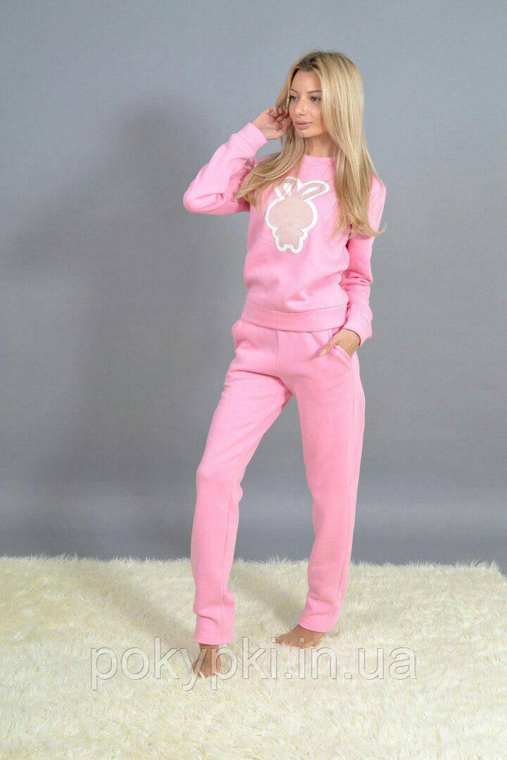 d6bb9673 Теплый спортивный костюм женский трехнитка с начесом нежно розовый -