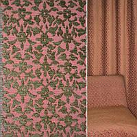 Мебельная обивочная ткань шенилл малиновый с коричневый цветами ш.140