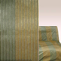 Мебельная обивочная ткань шенилл зеленый с золотистый зеленый полосками ш.137