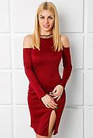Женское трикотажное платье с открытыми плечами (Альбертина mrb)