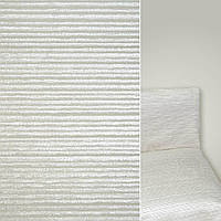 Мебельная обивочная ткань шенилл молочный серый полоска ш.142