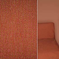 Мебельная обивочная ткань шенилл красный с золотая строчкой с пропиткой ш.140