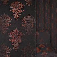 Мебельная обивочная ткань Жаккард бордовый черная с вензелями ш.140