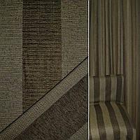 Мебельная обивочная ткань Шенилл болотная черный в коричневая полоску ш.140