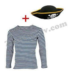 Набор Пирата тельняшка, шапка большие размеры