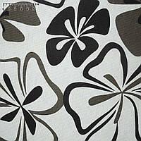 Ткань для мебели, сумок, рюкзаков, мебельная, сумочно-рюкзачная, деко коттон  белая с черными цветами ш.150, хлопок 100% хлопковая ткань.
