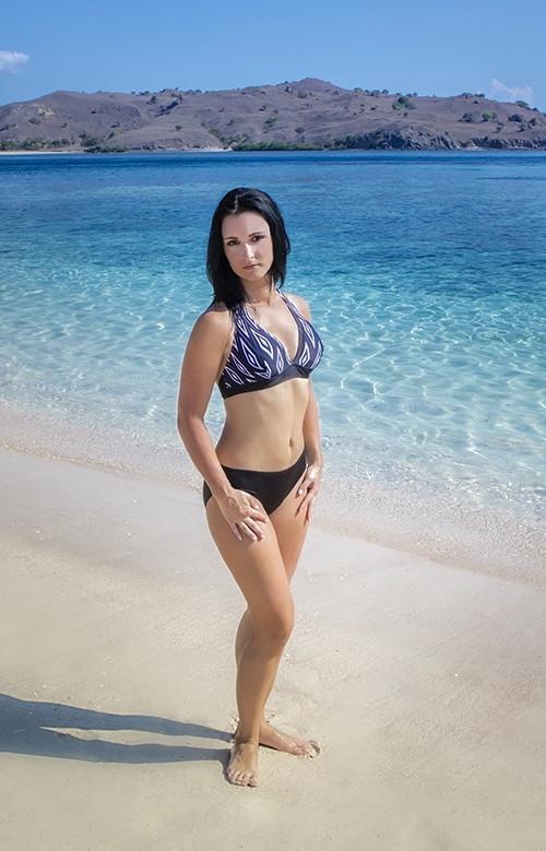 Размер S Пляжный женский купальник раздельный Shepa 076 (original) Польша, халтер, мягкий лиф с вкладышами