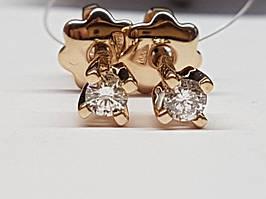 Золотые серьги-пуссеты с бриллиантами. Артикул 502-00789