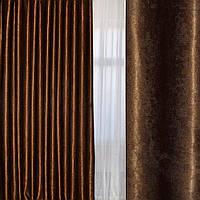 Шторы блэкаут муаровый коричневый, блекаут