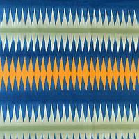 650427490 - Ткань скатертная в синюю, зеленую, оранжевую полоску-зигзаг, ш.150