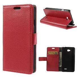 Чехол книжка для LG L65 D280 / Dual SIM D285 боковой с отсеком для визиток Красный