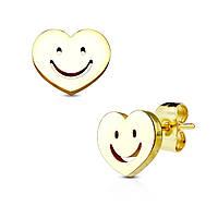 Серьги гвоздики из медицинской стали с сердечком и смайликом Spikes, фото 1