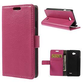 Чехол книжка для LG L65 D280 / Dual SIM D285 боковой с отсеком для визиток Розовый