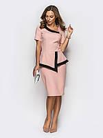 Стильный комплект блузка+юбка с контрастной оборкой по горловине и низу изделия, фото 1
