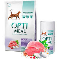 Сухой корм для кошек с эффектом выведения шерсти Optimeal - утка 4 кг