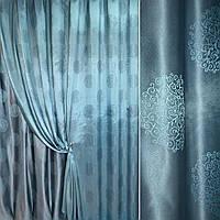 Атласная ткань атлас жак.2 х стор. круглые завитки серо голубой
