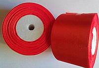 Лента атласная 5 см красная, фото 1