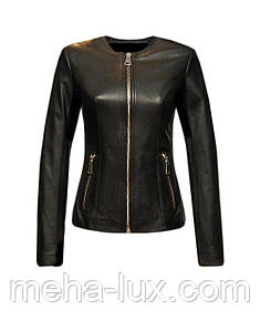 Куртка женская кожаная Vicentini короткая без воротника черная