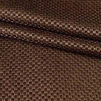 Блэкаут (светонепроницаемые шторы) лен льняная ткань шахматка коричневый