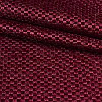 Блэкаут (светонепроницаемые шторы) лен льняная ткань шахматка бордовый