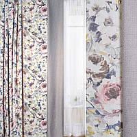 Блекаут лен льняная ткань шахматка серая /принт цветущий сад ш.280