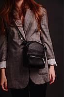 Сумка-рюкзак на поясная, через плечо кожаная черная 1600, фото 1