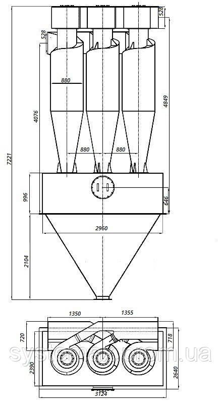 Габаритные и установочные размеры циклона ЦН-15-800х3УП
