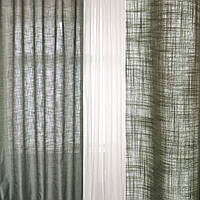 Шторы лен портьеры облегченный серый