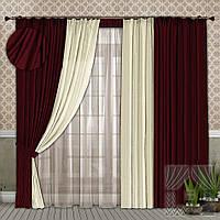 Комплект штор у вітальню з щільної міцної тканини