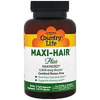 Комплекс для Роста и Укрепления Волос, Maxi-Hair, Country Life, 120 гелевых капсул