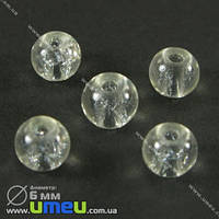 Бусина стеклянная Битое стекло, 6 мм, Прозрачная, Круглая, 20 шт. (BUS-001802)