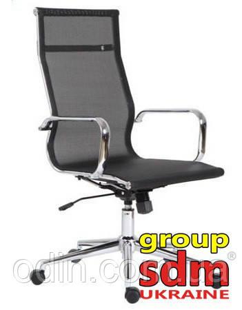 Кресло офисное Невада, сетка, хром, высокая спинка, цвет черный NEV-BL