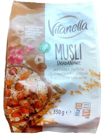 Мюсли Vitanella Musli Snidankoveс с изюмом и орехами 350г, фото 2
