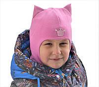 Демисезонная шапка шлем для девочки Beezy Кошечка, фото 1