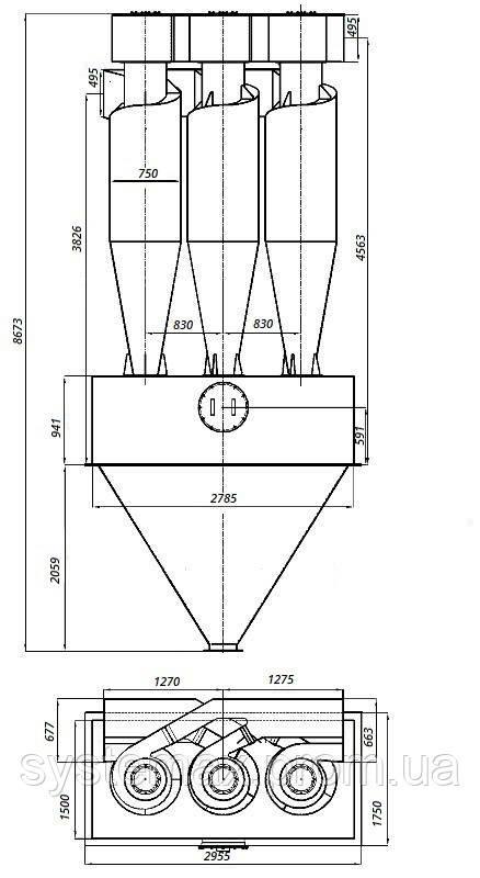 Габаритные и установочные размеры циклона ЦН-15-750х3УП