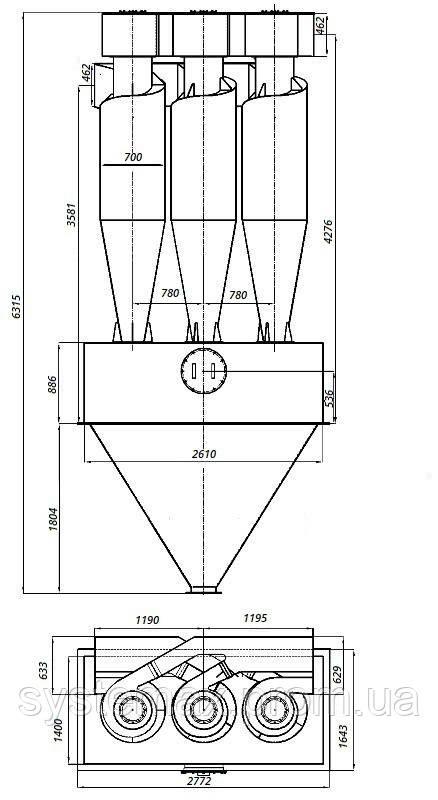 Габаритные и установочные размеры циклона ЦН-15-700х3УП