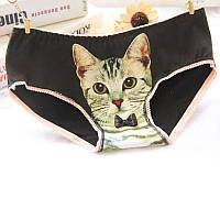 Женские трусы, с котом, хлопок, черного цвета, размер M