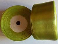 Лента  атласная 4 см. олива, фото 1