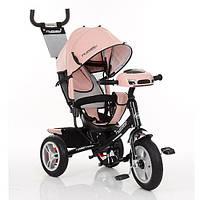 Детский трехколесный велосипед M 3115HAL-10,фара, надувные колеса,эко-кожа