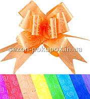 """(10шт) Бантик подарочный """"Лентяйка"""" 3см (в собраном виде 14х13см) Цвет - Оранжевый"""