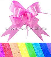 """(10шт) Бант-затяжка """"Лентяйка"""" 3см (в собраном виде 14х13см) Цвет - Розовый"""