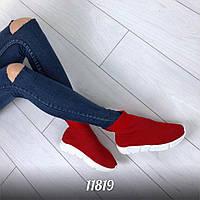 11819  Кроссовки =Balencia_a= высокие , цвет: КРАСНЫЙ,  материал :обувной текстиль (резинка) ,подошва - 3 см